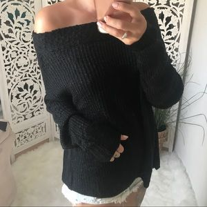 RESTOCKED!! BLAKELY Slub Off Shoulder Sweater